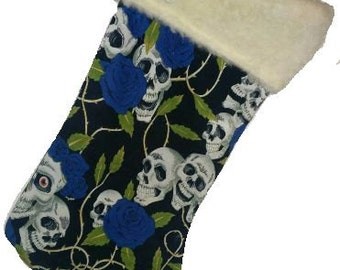 Blue Skull and Roses Christmas Stocking