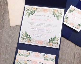 Elegant watercolor floral Pocketfold Wedding Invitation Suite in Navy and peach / blush pink
