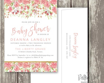 Pretty Peony Watercolor Baby Shower or Bridal Shower Invitation