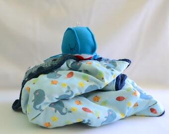 Happy whale crochet baby blanket, baby afghan, reversible baby blanket, crochet blanket, travel blanket, nursery decor, childrens blanket
