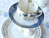 Pretty 2 tier mini cake stand / jewelry display - upcycled vintage English china cup, saucer and plate in blue and gold