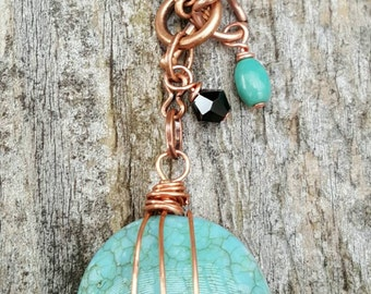 Teal and copper wrapped necklace
