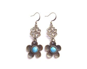 Boho Earrings, Flower Earrings, Floral Earrings, Brass Earrings, Hippie Earrings, Dangle Earrings, Boho Jewelry, Gypsy Earrings