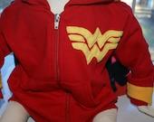Wonder Woman Full Zip Hooded Sweatshirt with Cape - 12 Months