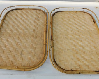 Vintage Set of 2 Bamboo Serving Trays Rattan, Tiki, Wicker TV Lap Tray Table