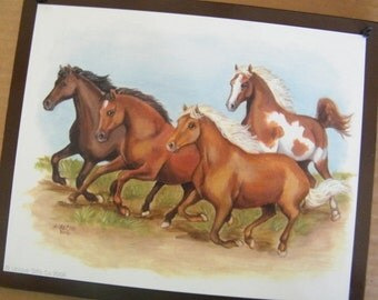 Assorted Horses Primitive Country Wooden Wall Decor Sign