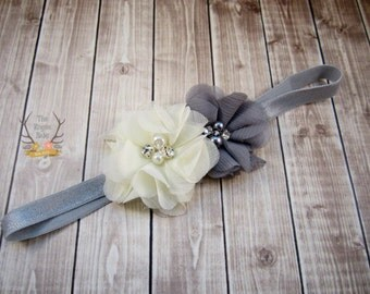 Baby Headband - Gray & Ivory - Rhinestone - Soft Chiffon Headband -Pearl Preemie Wedding Flower - Cream Charcoal Silver