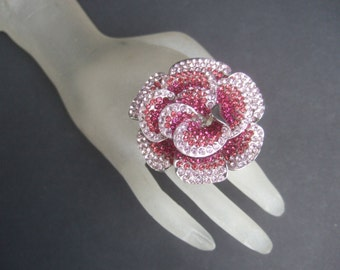 Massive Glittering Pink Crystal Cocktail Ring Size 9