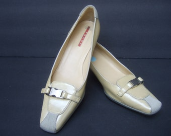 PRADA Italy Tan Patent Leather Low Heel Pumps Size 38.5