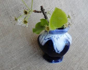 Vintage Vase Made in Japan Cobalt Blue Slipware Tiny