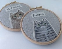 Personalised pet cat portrait - custom cat portrait  - made to order - painted cat hoop art