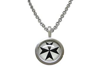 Bordered Maltese Cross Pendant Necklace