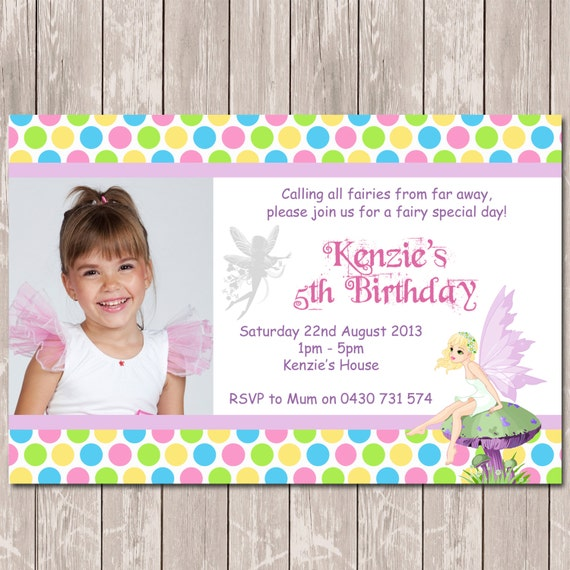 Fairy themed photo personalised birthday invitations you print by il570xn filmwisefo
