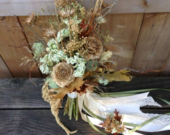 Dried Fall Bridal Bouquet and Boutonniere - Creme Brulee