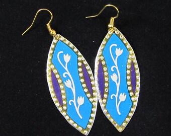Vintage tin Blue Flower Earring