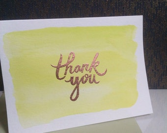 "Yellow/Green Watercolor ""Thank You"" Cards"