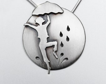 Dancing in the Rain, Silver Pendant, Silver Jewellery, silver jewellery, singing in the rain necklace.