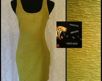 90s Lime Green Bodycon Dress - Scoop Neck Scoop Back - Fitted Tank Dress - Textured Mini Dress - Sleeveless Short Dress - Medium Small