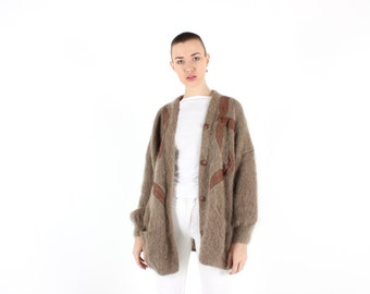 90s MOHAIR + Wool + Leather AUSTRALIANA GUMNUT Fluffy Slouchy Oversized Free Size Brown Cardigan
