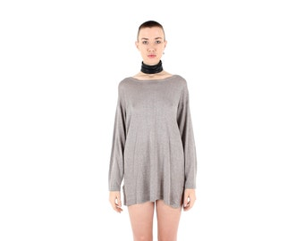 80s Glitter CHAINMAIL KNIT Silver Metallic Oversized Slouchy Sweater Long Sleeve Mini Dress