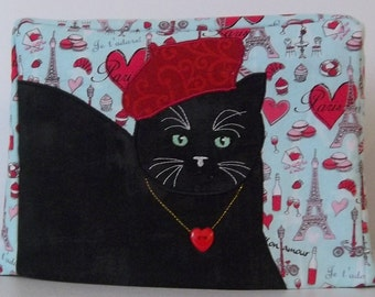 2 Slice Toaster Cover - Valentine Toaster Cover - Cat with Beret- I love Paris