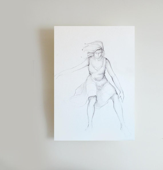 Series drawings Fly - Female / Woman / Dance / Movement / Charcoal / pencil on acid free paper - 9.4 x 12.6 inches by Cristina Ripper