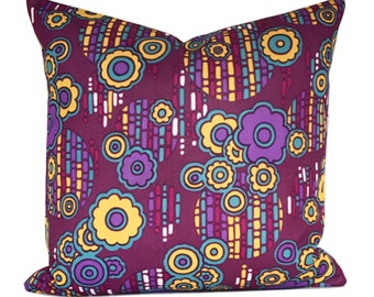 Cushion Cover Original Vintage Purple Psychedlic Fabric