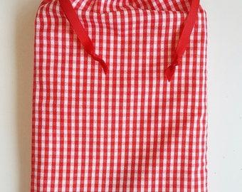 Red Plaid Gift Bag, reusable drawstring bag for gift giving - American Made