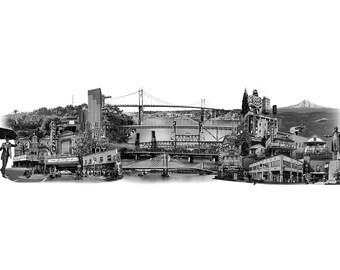 Portland Fine Art - Original Art - Archival Art Print - Photography - Photo Collage - Panoramic - East Meets West - Oregon - Limited Editon