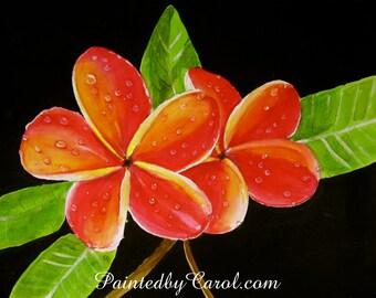Plumeria Painting - Red and Yellow, Tropical, Frangipani Original Watercolor Painting