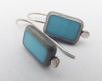 turquoise earrings/glass earrings/rectangle earrings