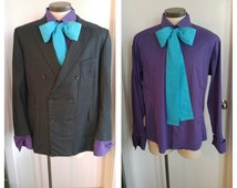 Upcycled Steampunk Clothing, Joker Costume Wool Jacket Pin Stripes, Purple Button-up Shirt and Handmade Turquoise Cotton Bow Tie, Mens Large