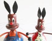 Pair of Rare German DDR Vintage Easter Erzgebirge Handpainted Wood Bunnies, made in the 70s