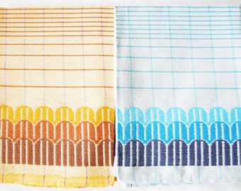 Set of 2 Pieces German Vintage Retro Cotton Kitchen Dish towels from the 70ies  / new and unused