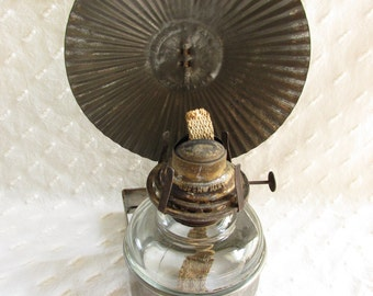 Antique Victorian Bracket Glass Oil Lamp Bradley Tin Reflector Queen Mary Burner