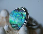 Abalone Shell and Sterling Silver Size 7.5 Ring/ FREE Shipping* / Polished Silver and Abalone Ring/ Shell Ring/ Abalone Ring