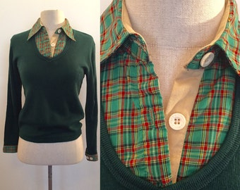 Early Betsey Johnson Michael Milea pullover knit with plaid collar insert.