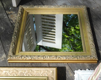 Square Mirror, Gold Mirror, Rosettes Mirror, Floral Mirror, Mirror, Regency Mirror, Hollywood Regency, Ornate Baroque, Cottage Decor