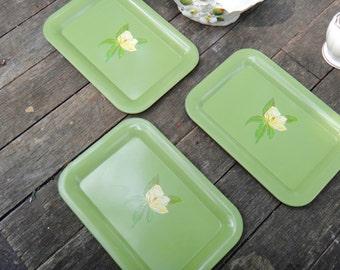 Trays, Tin Tray, Green Tray, THREE Floral Trays, Dresser Tray, Coin Tray, Hostess Gift, Office, Paperclip Tray, Toleware, Jewelry Tray, Casa