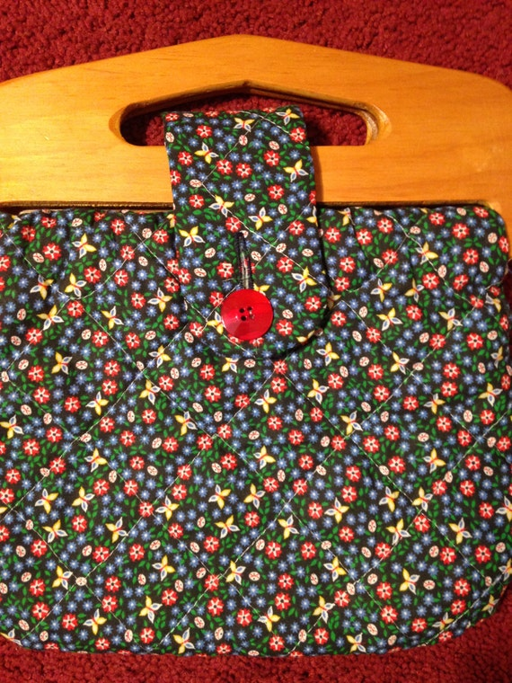 Vintage Handmade Quilted Floral Ladybug and Butterfly Handbag Wood Handles 70s Sale