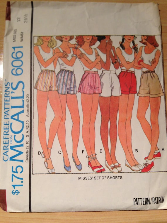 Misses Set of Shorts McCalls Sewing Pattern 6061 70s Size 12