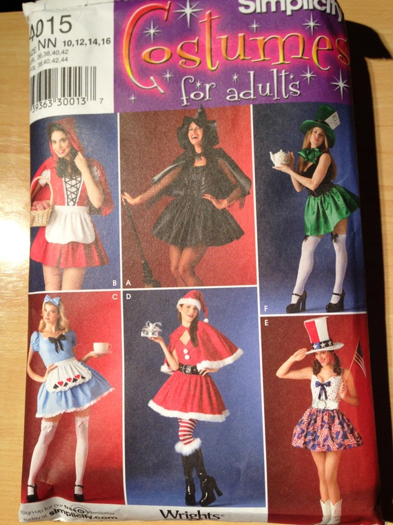 Simplicity 4015 Misses Red Riding Hood, Witch, Mad Hatter, Alice in Wonderland, Mrs Clause and Patriotic Costume Size 12-16