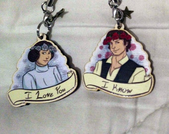 I Love You, I Know Wooden Charms Keychains Charms