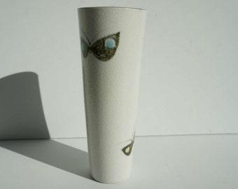 1960s Japan Mid Century Pottery Vase Butterflies and Textured Glaze Handpainted