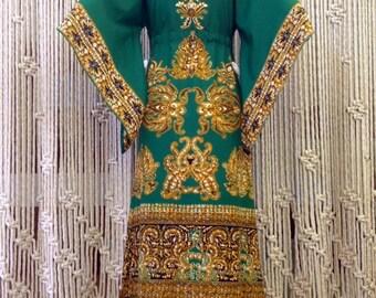 70s Angel Sleeve Green Ethnic Block Print Maxi Dress