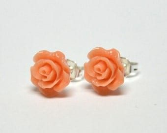 Tiny Peach Rose Earrings - Flower Earrings - Silver Stud Earrings - Spring Inspired Jewelry