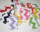 Lanyard ID Holder, Colorful Chevron  Cotton Clip On ID Holder with Hidden Cash Stash with Optional Matching Lanyard