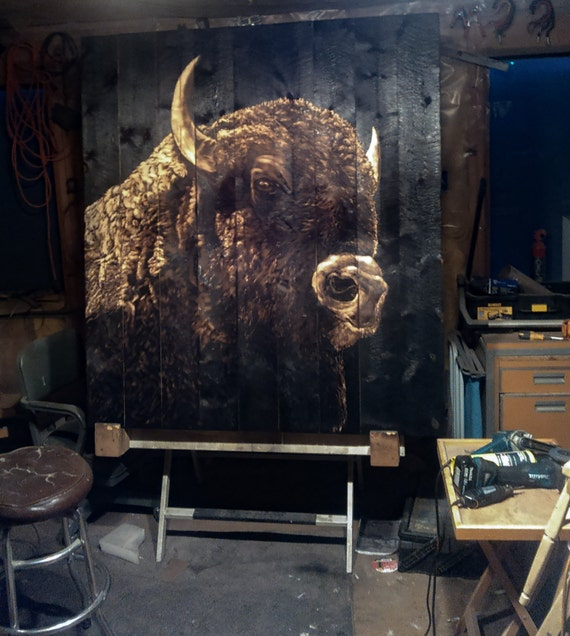 Buffalo art bison art mural painting with fire by for Bufflon revetement mural