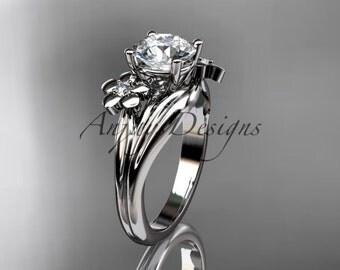 platinum diamond leaf and vine wedding ring,engagement ring ADLR159