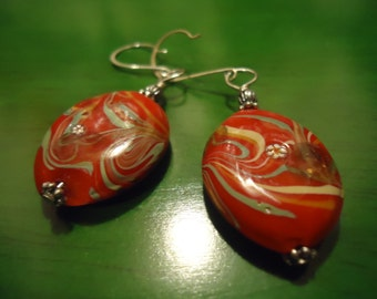 Boho Gypsy Style Red Japanese Garden Drop Dangle Earrings